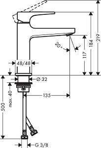 Hansgrohe Metropol Lavabo bataryası 110,Mat Siyah - Thumbnail