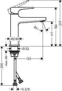 Hansgrohe Metropol Lavabo bataryası 110,Mat Siyah