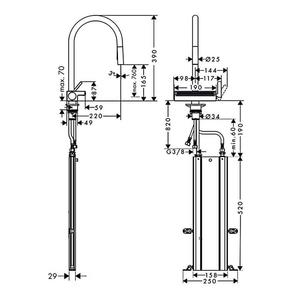 Hansgrohe Aquno Select M81 Eviye Bataryası 3 Akışlı Spiralli sBox ile - Thumbnail